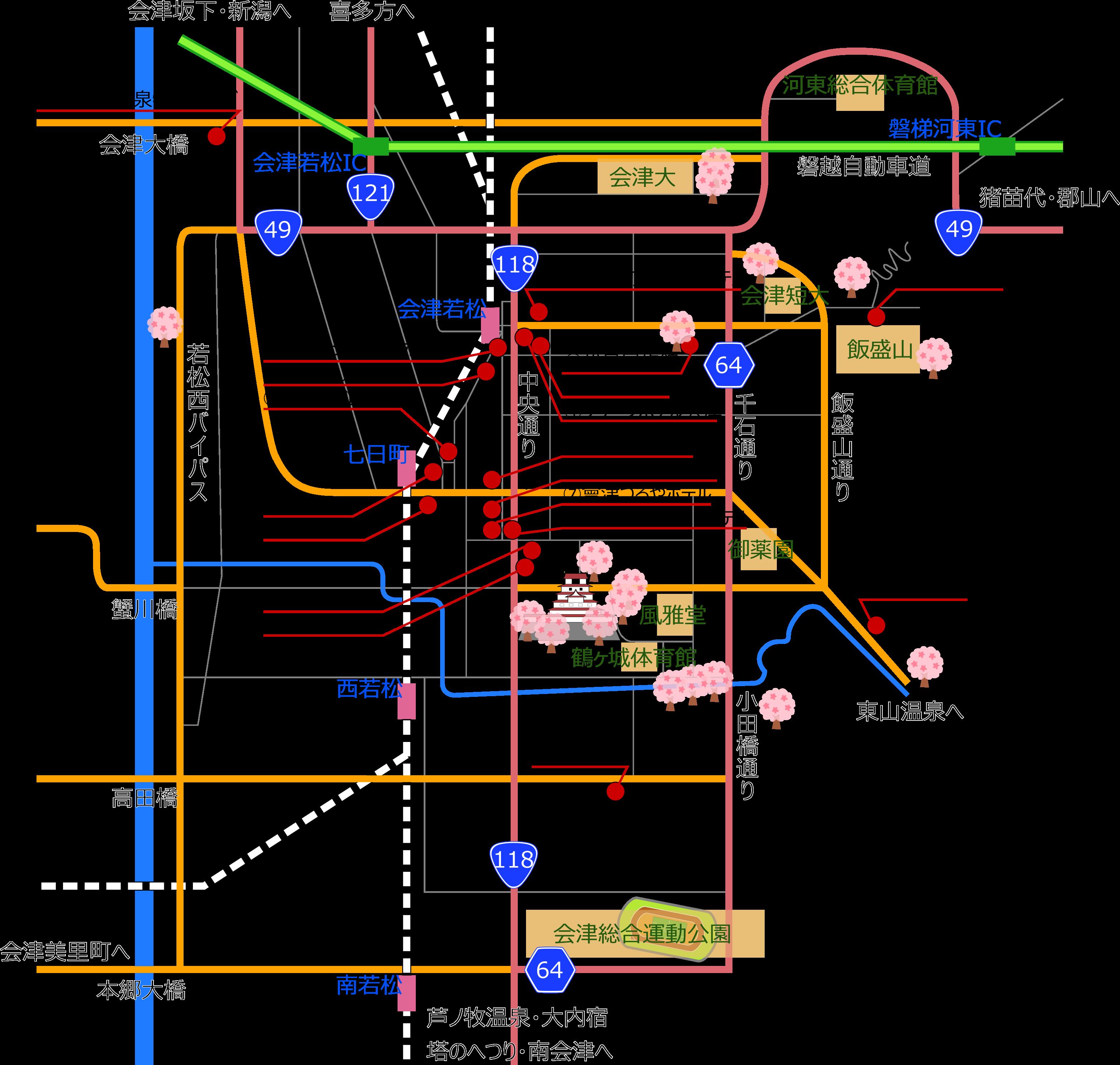 若松城下の宿マップ
